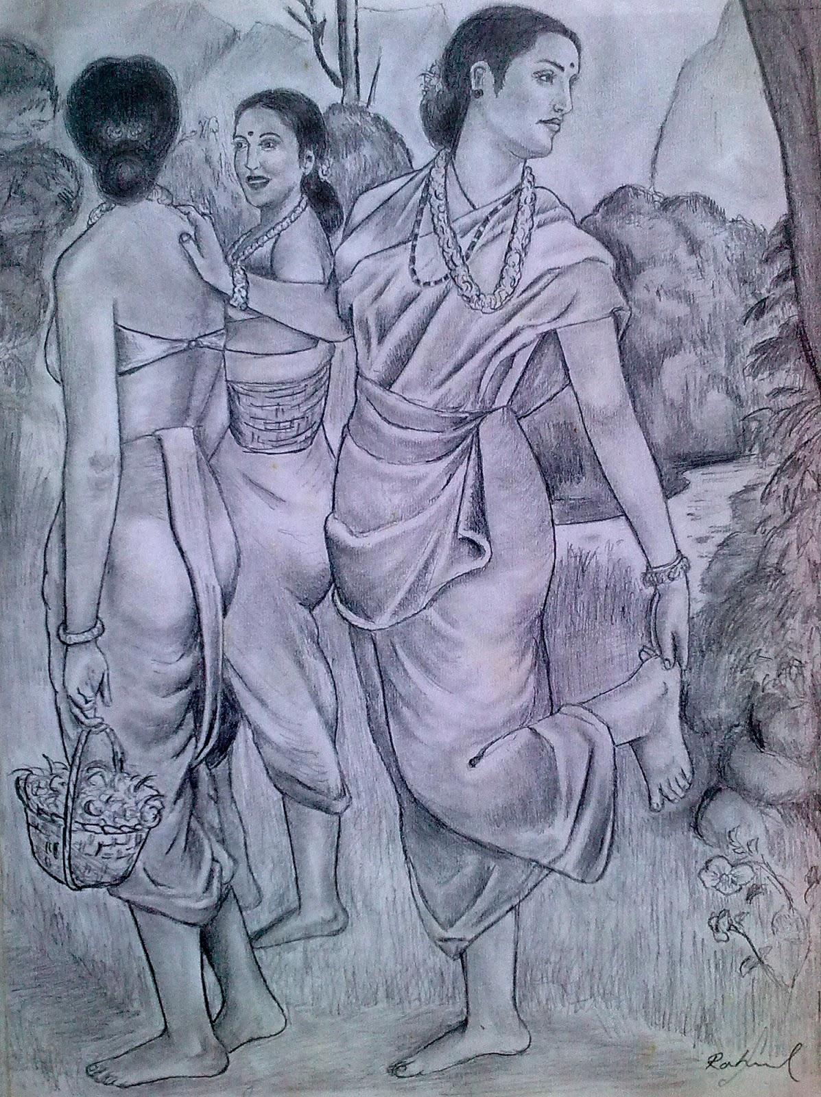 Pencil drawings of favourite raja ravivarma paintings