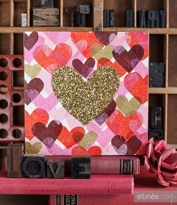Quadro corações com glitter / dia dos namorados