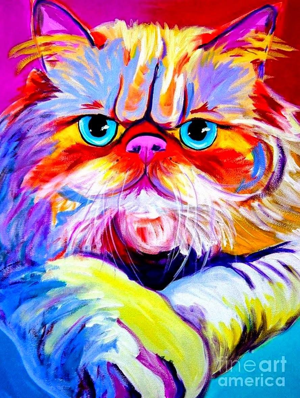 Pintura moderna y fotograf a art stica cuadros de gatos - Dibujos de gatos pintados ...