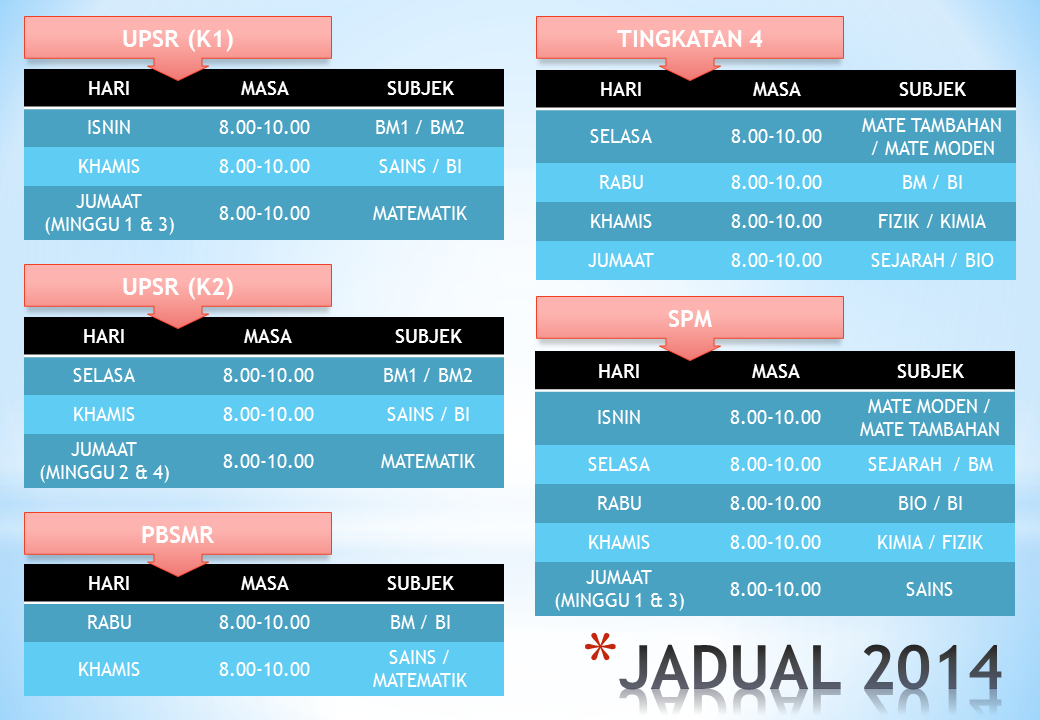 CHECK OUR TIME TABLE.