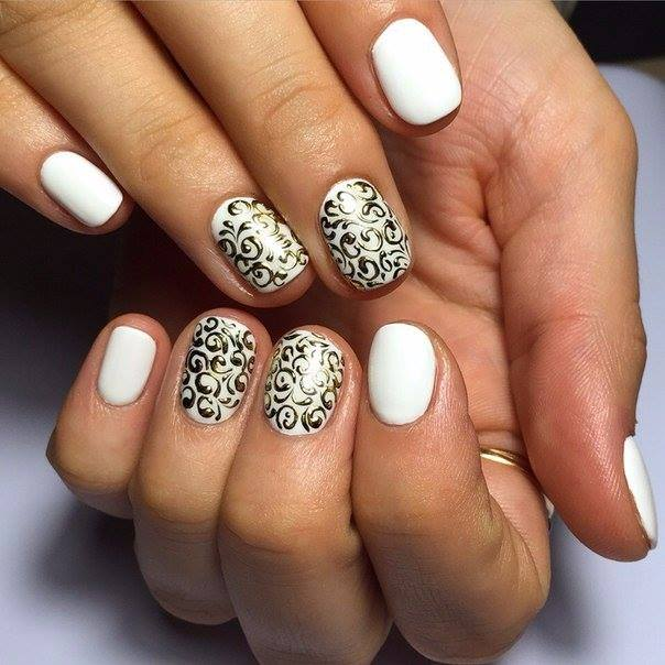 Silver Design on White Nails  | Nails
