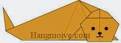 Bước 14: Vẽ mắt, mũi, miệng để hoàn thành cách xếp con hải cẩu bằng giấy theo phong cách origami.