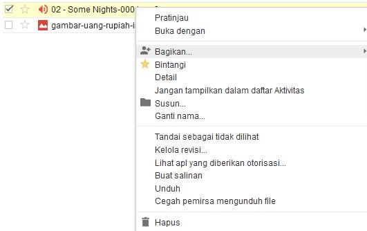 opsi pengaturan file yang diupload ke Google Drive untuk Download dan Berbagi