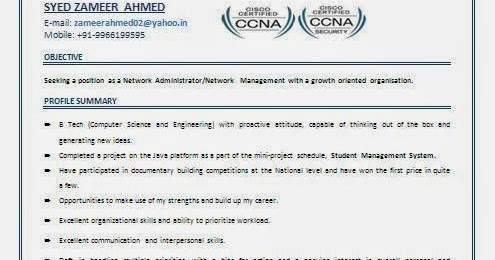 Ccna Resume For Freshers