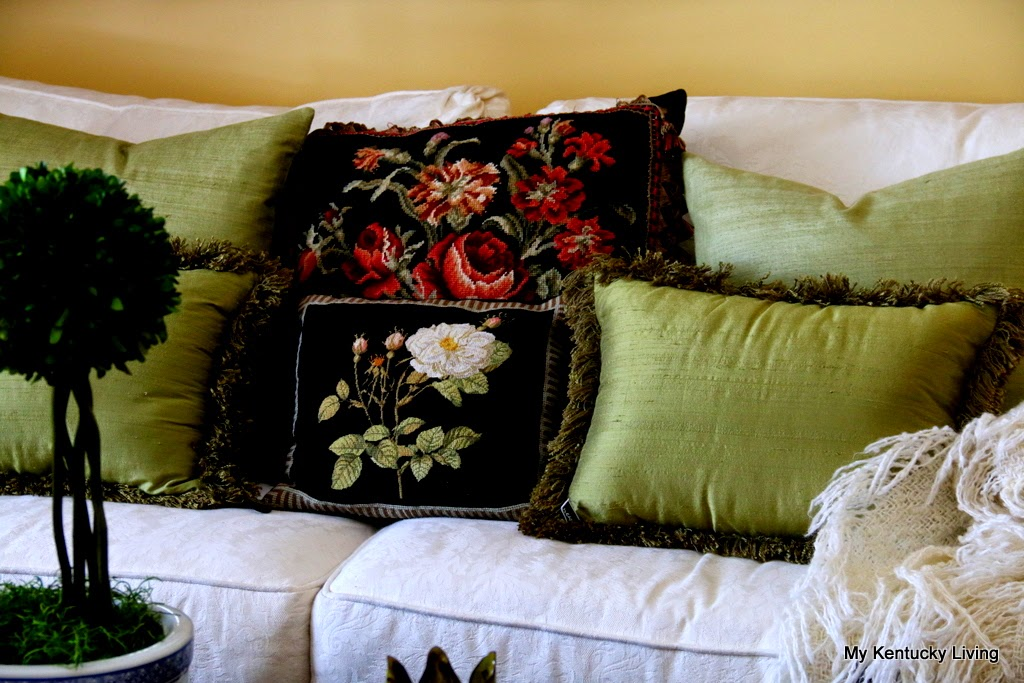 black needlepoint pillows
