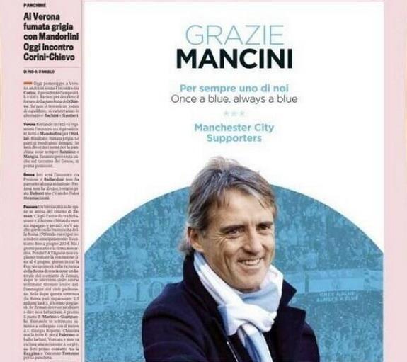 Manchester City fans thank Roberto Mancini with advert in Italian newspaper Gazzetta dello Sport