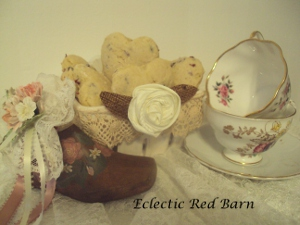 Eclectic Red Barn: Cherry Scones in Ceramic Basket with Tea Cups and Vintage Wooden Shoe