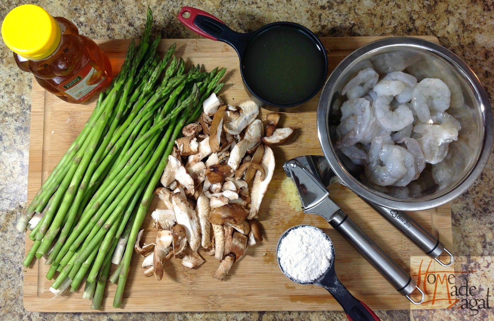 Shiitake mushrooms, asparagus and shrimp