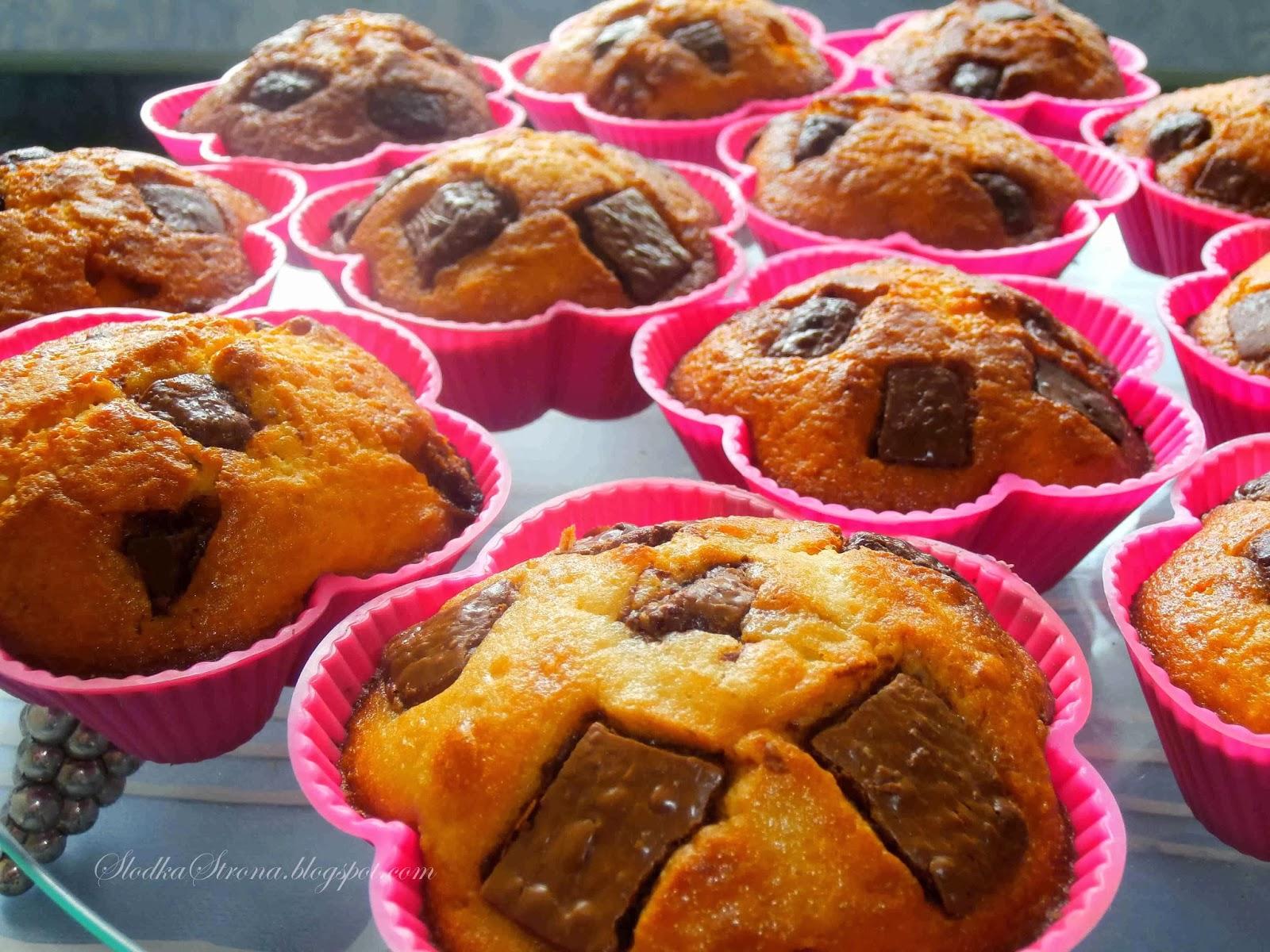 Muffinki z Kawałkami Czekolady - Przepis - Słodka Strona