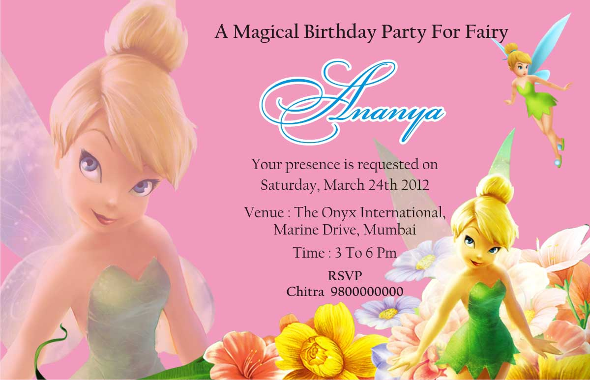 TINKER BELL THEME BIRTHDAY PARTY INVITATION CARD MUMBAI