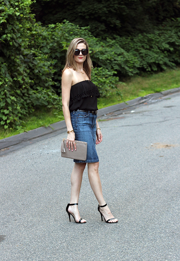 denim skirt and ruffle strapless top threads for
