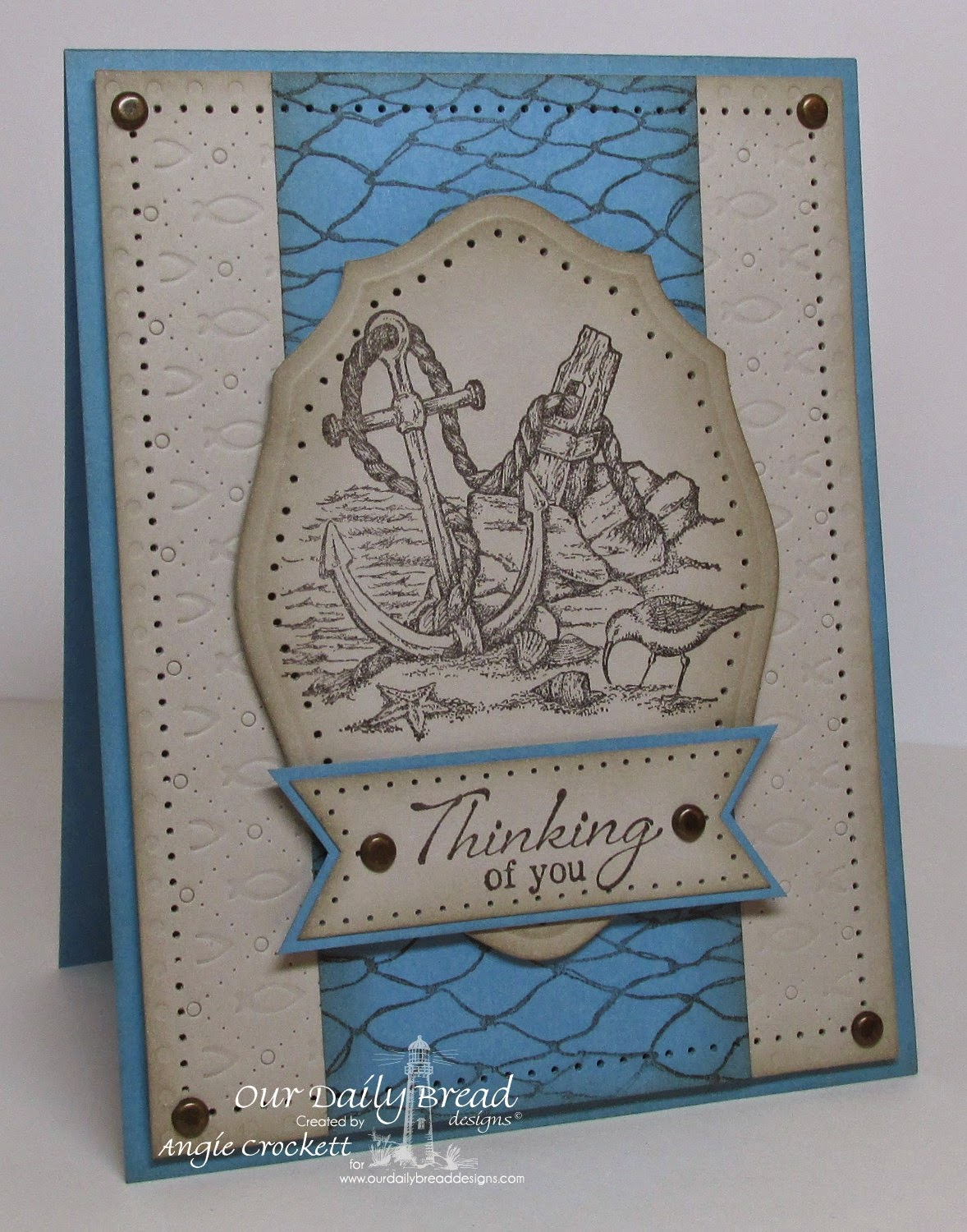 ODBD Anchor the Soul, ODBD Fishing Net Background, ODBD Custom Elegant Ovals Dies, ODBD Custom Faithful Fish Pattern Die and Debossing Plate, Card Designer Angie Crockett