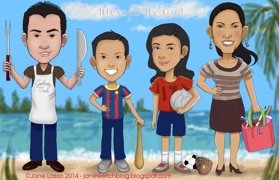 Caricatura digital y grupal en familia a colores