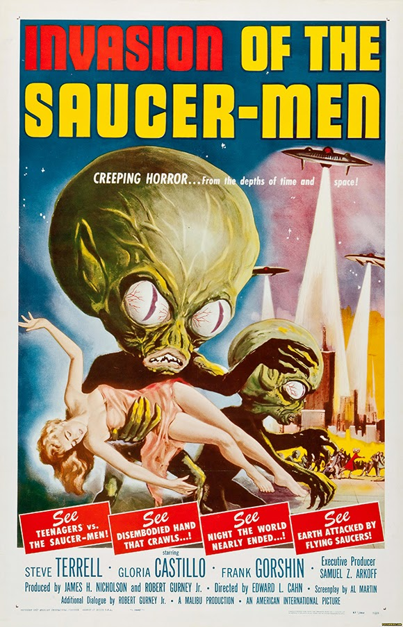 classic posters, free download, free printable, graphic design, movies, printables, retro prints, theater, vintage, vintage posters, vintage printables, horror movie poster, sci-fi movie poster, Invasion of the Saucer-Men - Vintage Horror Sci-Fi Movie Poster