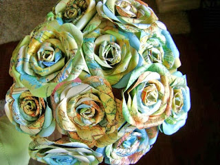 vintage atlas map paper rose bouquet by Helen Bixby HBixbyArtworks