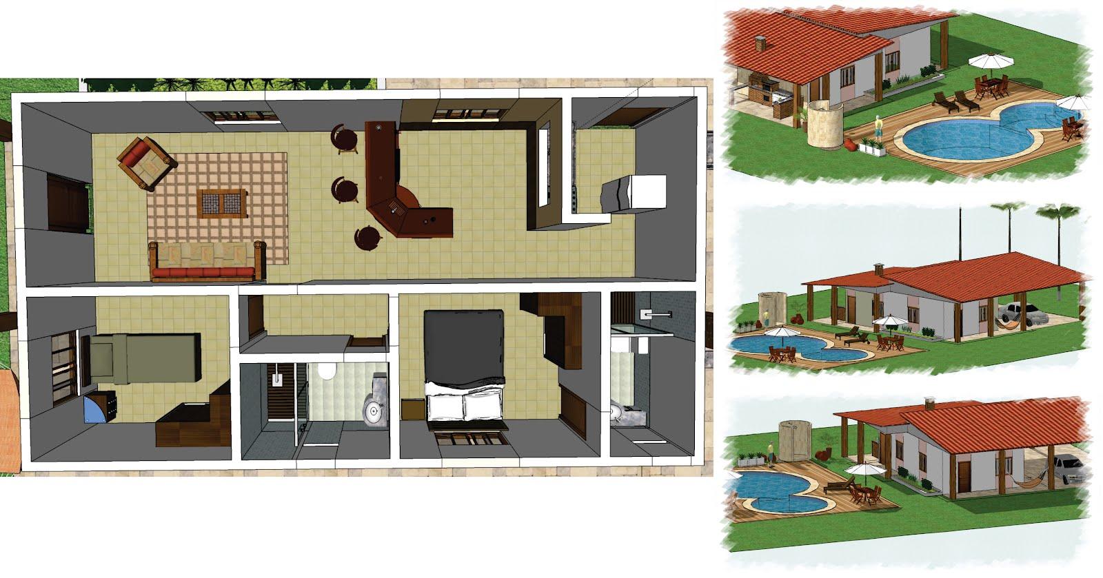 Designer: Projeto casa a partir de uma planta baixa Sketchup #87442C 1600 839