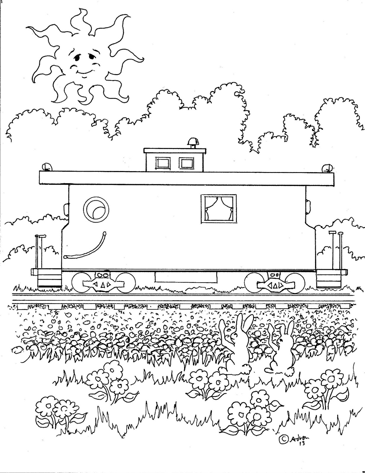 caboose colouring pages page 3