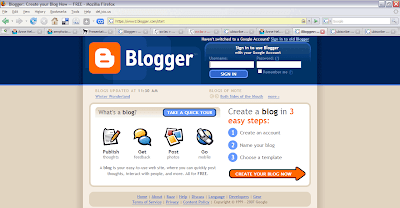 blogger sign in page
