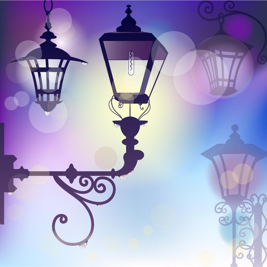 明かりにぼやける街灯の背景 street light background イラスト素材