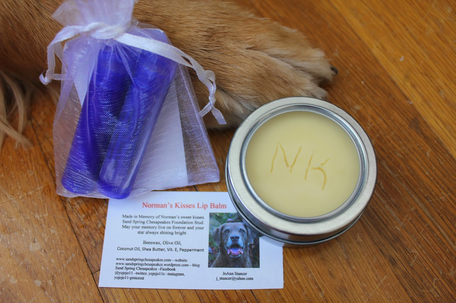Norman's Kisses hand to paw cream and lip balm
