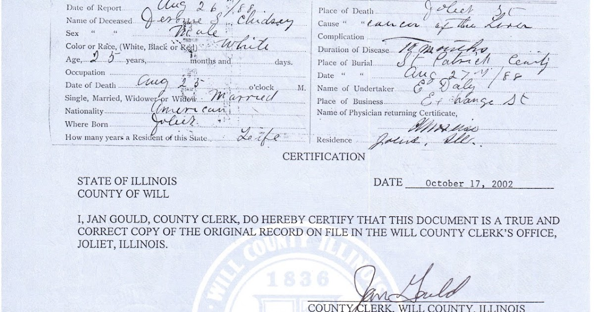 joliet genealogy: illinois death certificates, 1877-1916