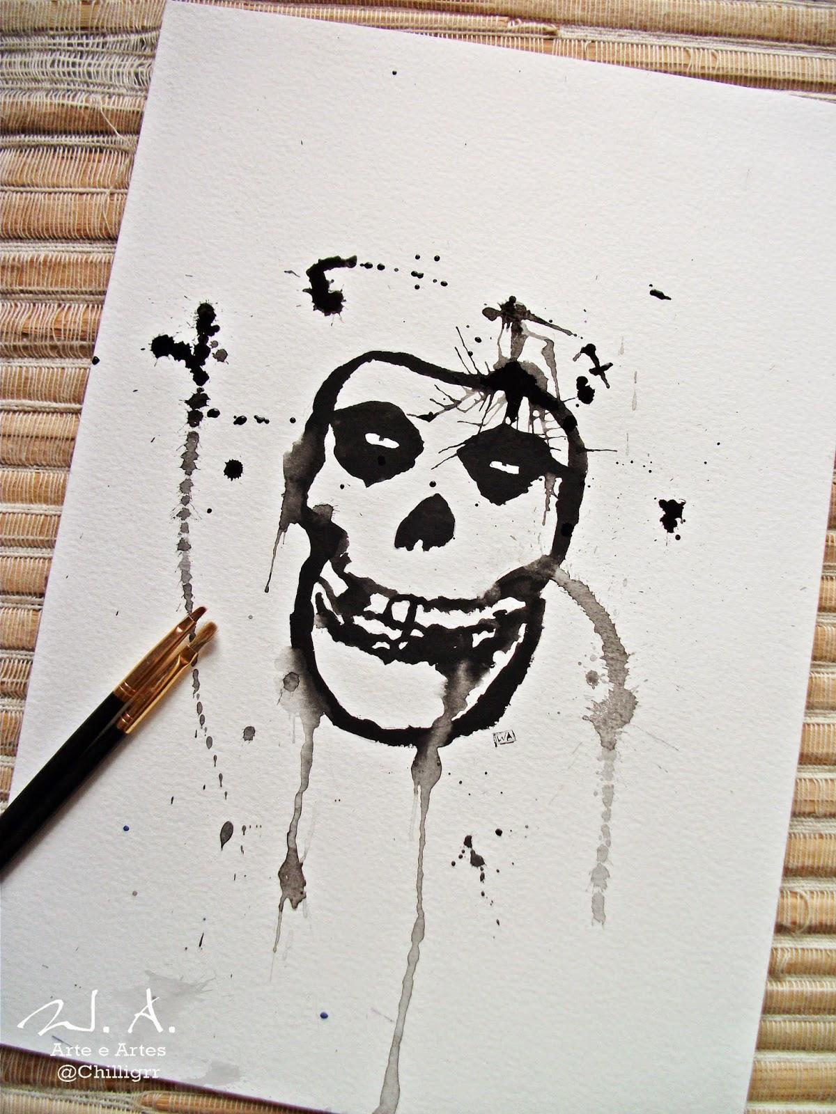 misfits skull, misfits, watercolor, misfits tattoo, misfits paintin, misfits drawing