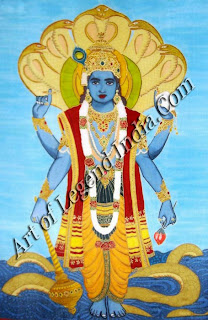Vishnu as Mayamoha, the teacher who deluded demons into giving up the Vedas Pahari painting