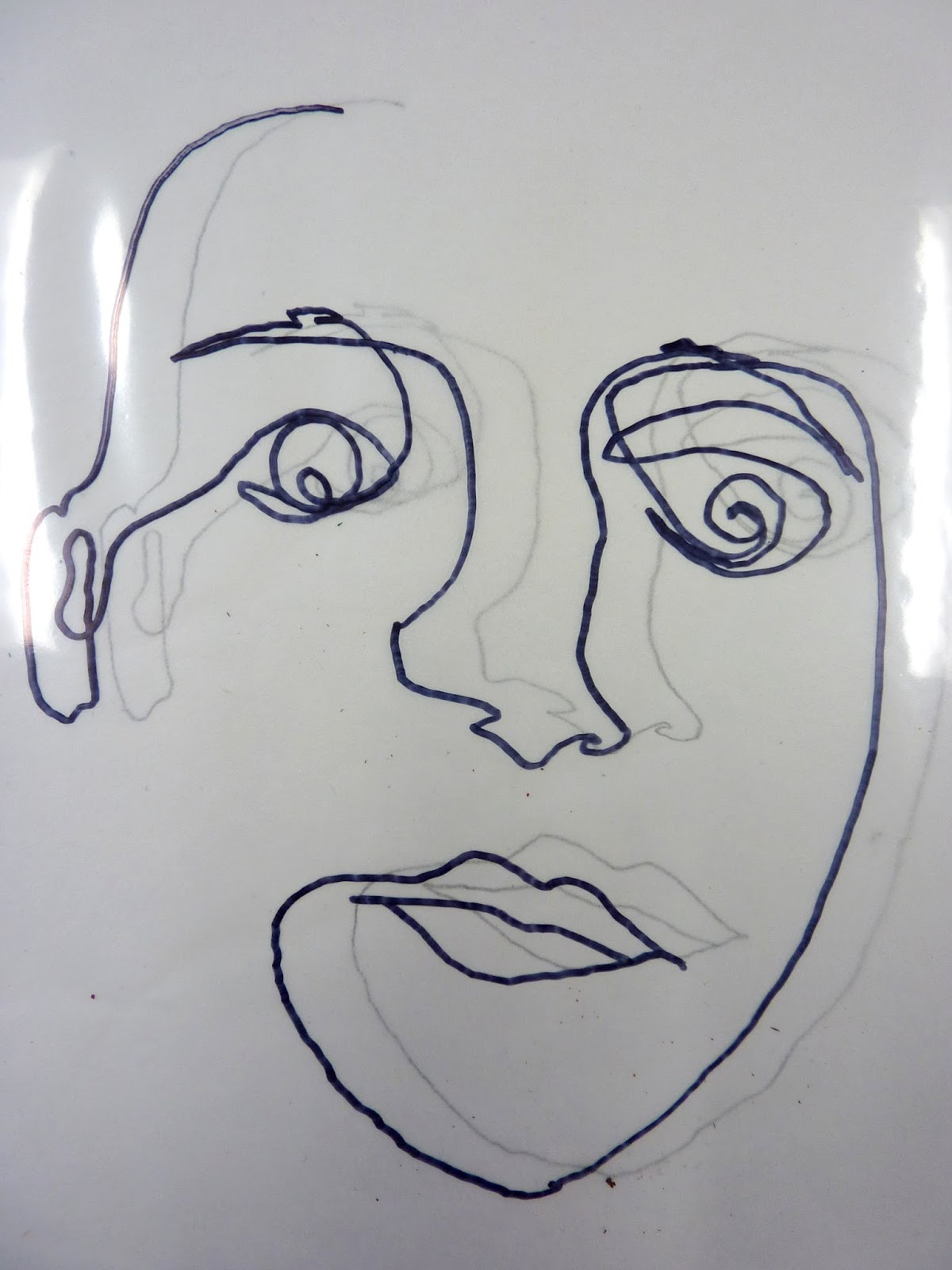Blind Contour Line Drawing Self Portrait : Picasso inspired portraits art edu