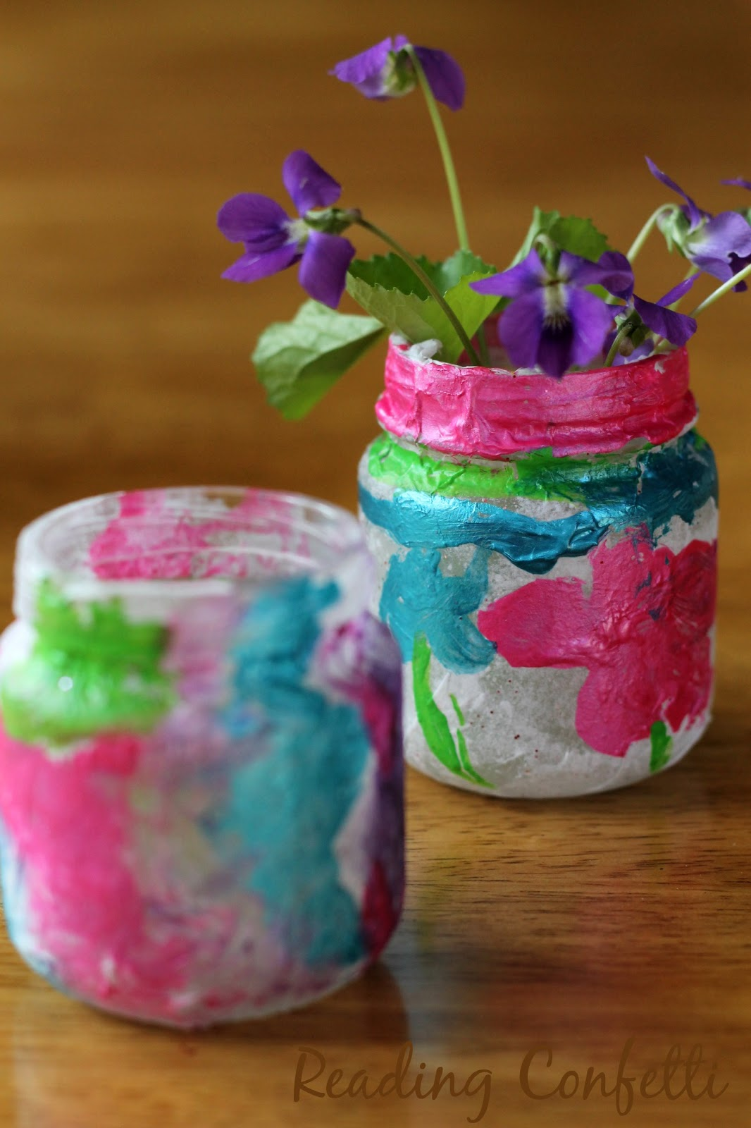 Painted tissue paper vases kids can make