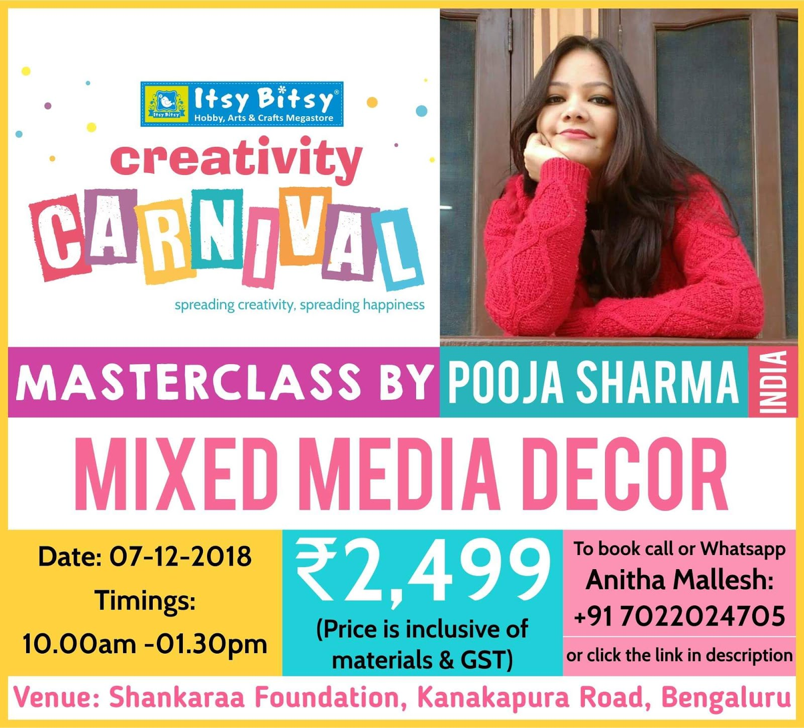 My master class at Itsy bitsy creativity carnival at Bangalore