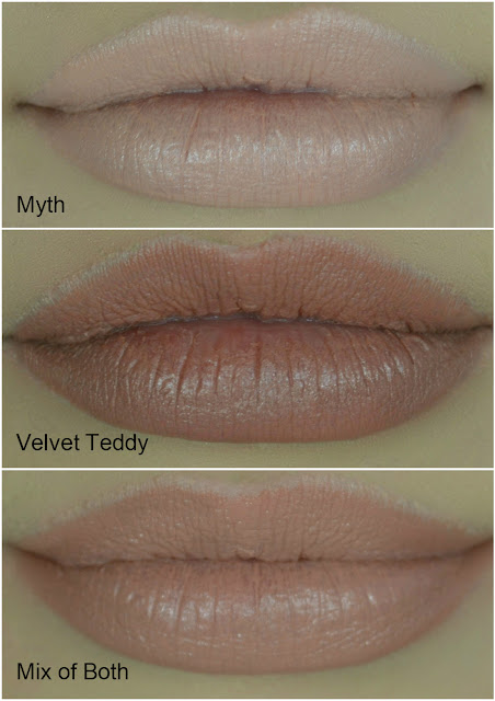 Mac - Mac Lipstick - Lipsticks - nude - brown - Lipstick combination - 90's lip - review - swatch - Velvet Teddy - Myth - go to lipstick combo
