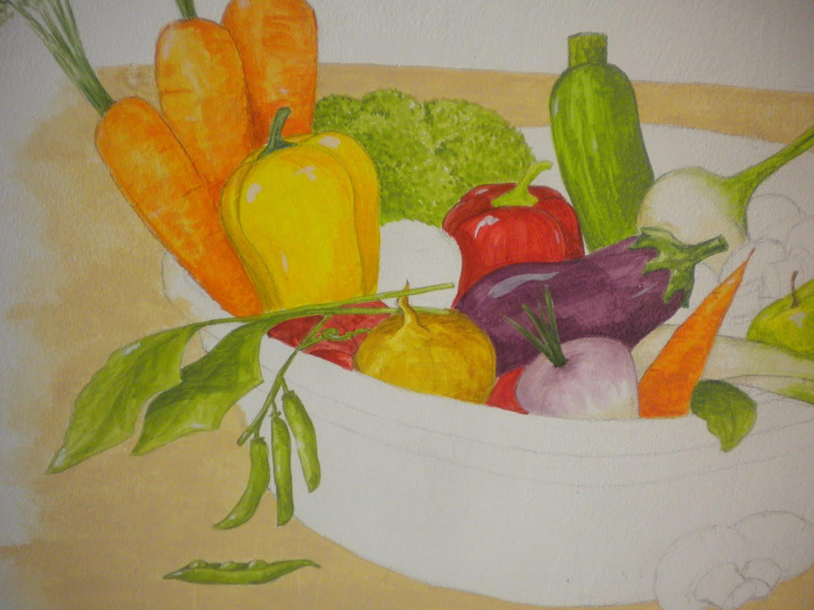 au jardin de chlo peinture cuisine avec l gumes pintura cocina con verduras. Black Bedroom Furniture Sets. Home Design Ideas