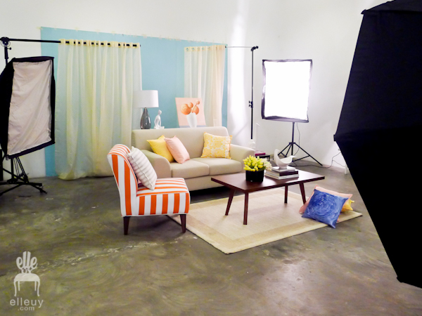interior set, interior styling, set styling, orange living room, blue room, yellow room