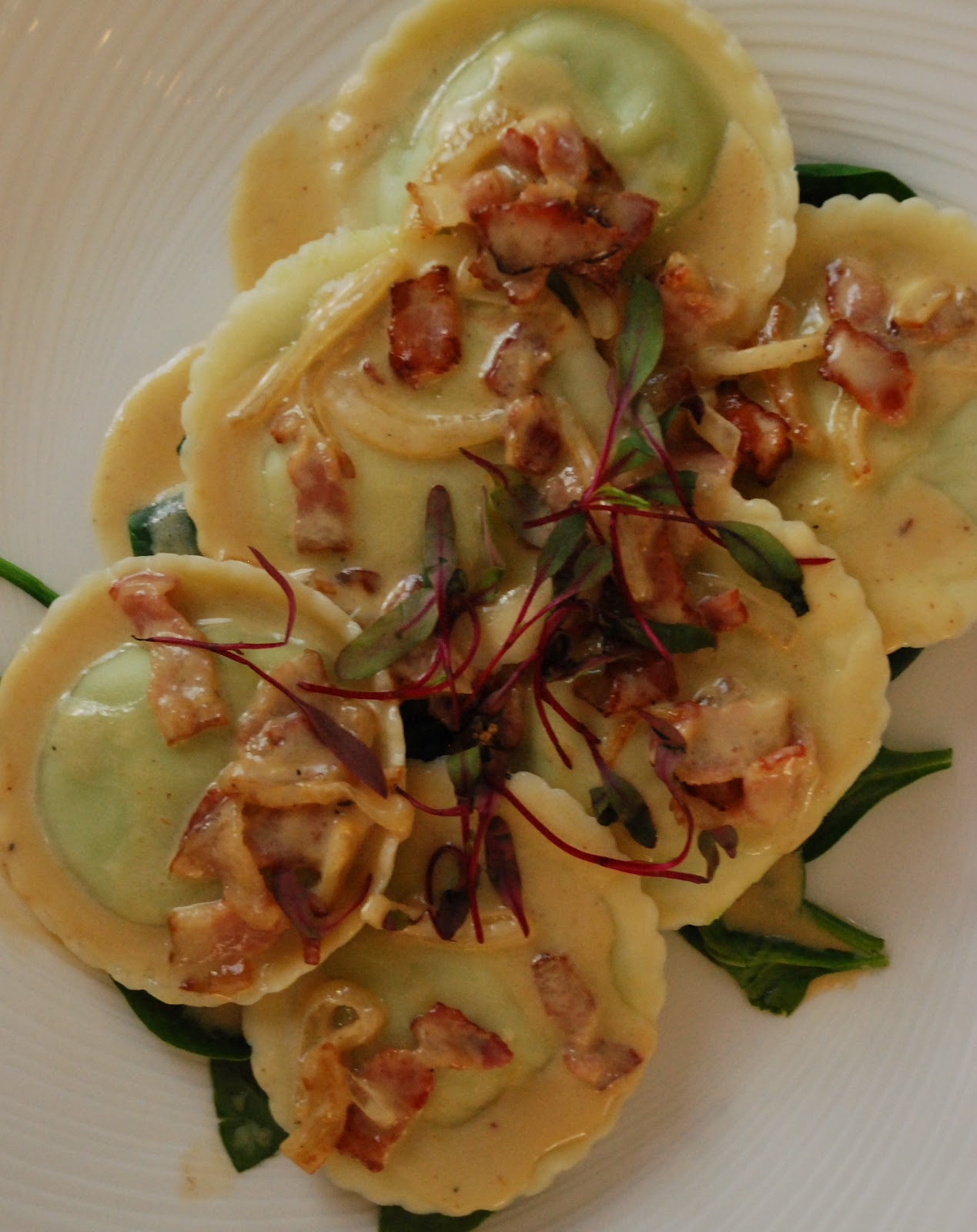 Foraged Mushroom Filled Ravioli, Bacon, Caramelized Onion and Sage ...