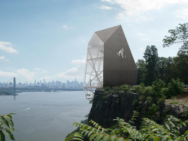 Photo of the house on the cliff with the views of Manhattan