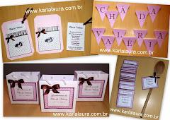 Convite Chá de Panela - Marrom e Rosa