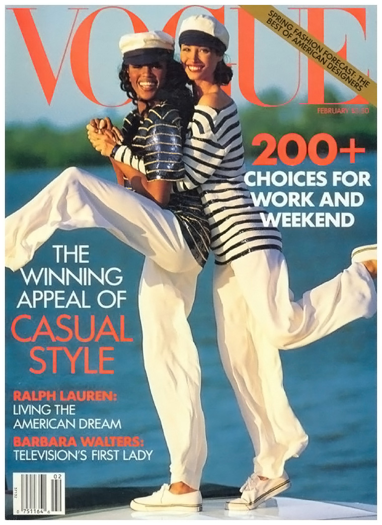 Naomi Campbell and Christy Turlington photographed by Arthur Elgort for Vogue US February 1992 cover
