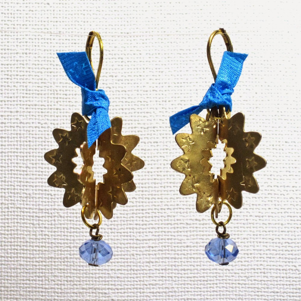 Stamped Brass Ornament Earrings from Barbe Saint John and ImpressArt