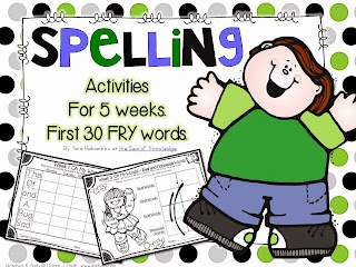 http://www.teacherspayteachers.com/Product/Spelling-Writing-Activities-5-Weeks-Frys-first-30-sight-words-871719