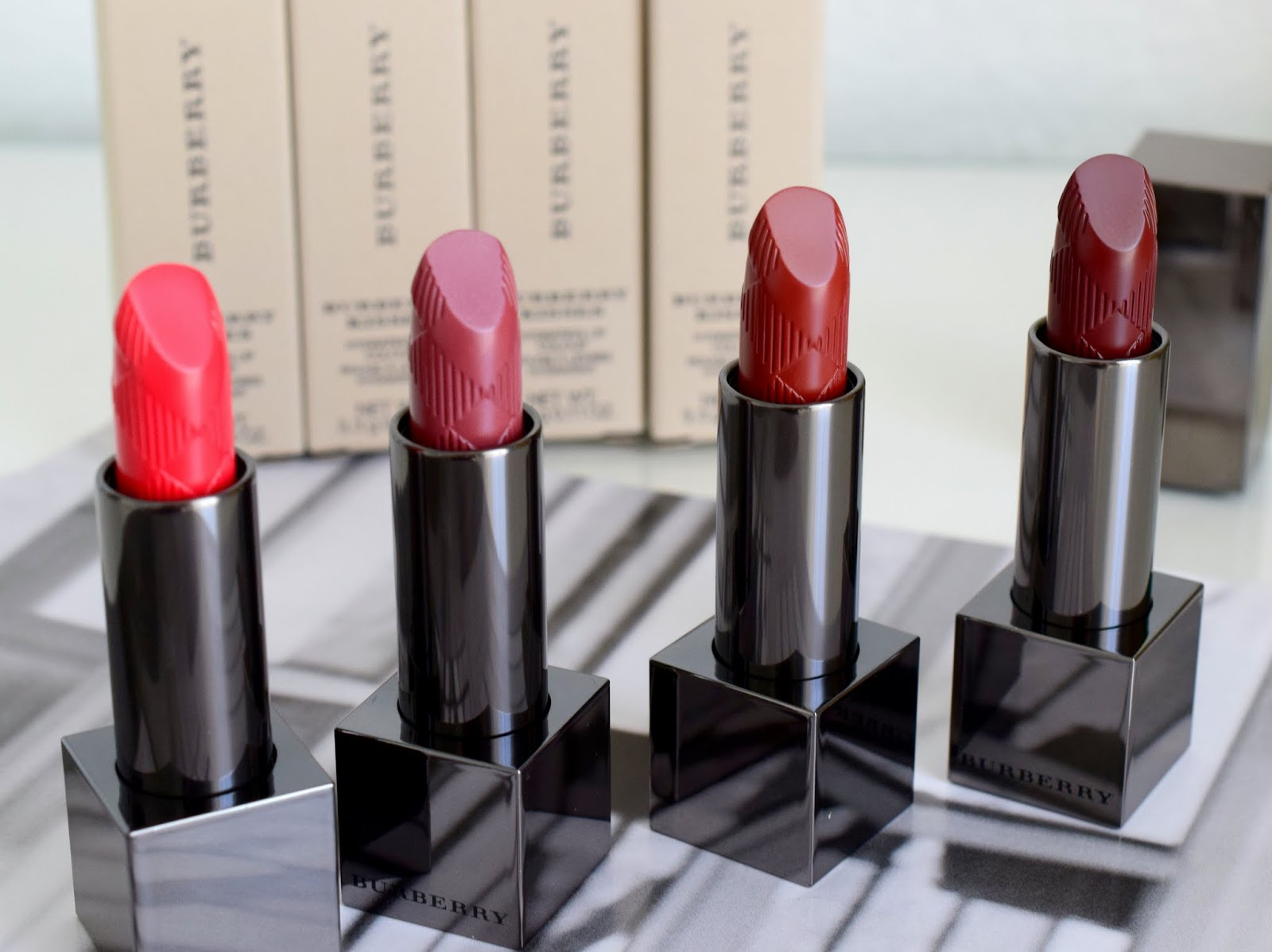 Burberry Kisses 53 Crimson Pink, 89 Rose Blush, 93 Russet, 97 Oxblood