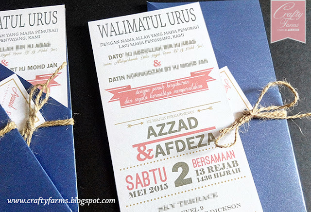 Typography Malay Wedding Invitation Card with Pocket Sleeve, Grand Lexis Port Dickson