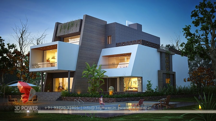 Night View Of Contemporary Bungalow