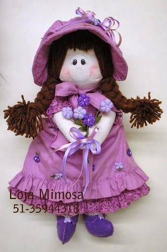 Molde boneca de pano com cabelo de lã