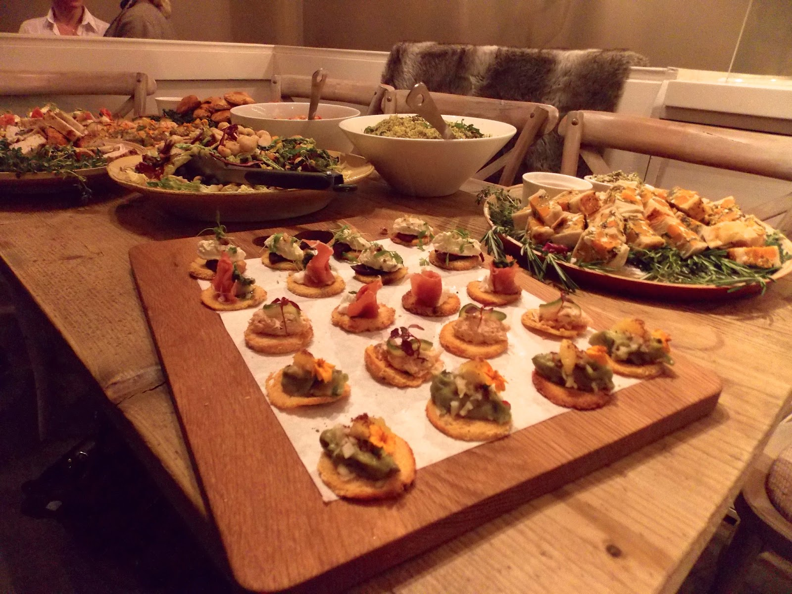 A picture of salads and canapes at Filmore & Union in York