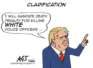 Donald Trump, death penalty, police officers, satire, cartoon