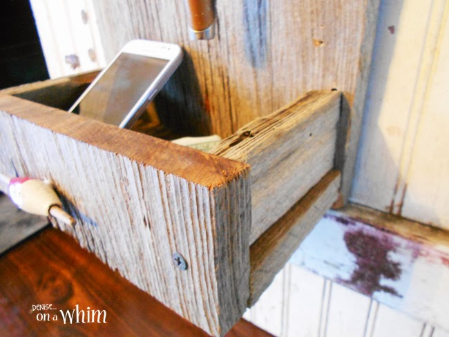 Barn Wood Catch All Organizer | Fishing Reel Key Hook & Organizer from Denise on a Whim