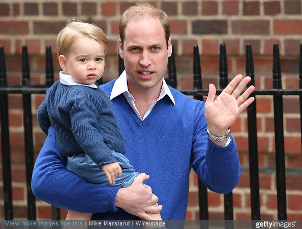 Prince William, Duke of Cambridge and his son Prince George return to the Lindo Wing at St Mary's Hospital