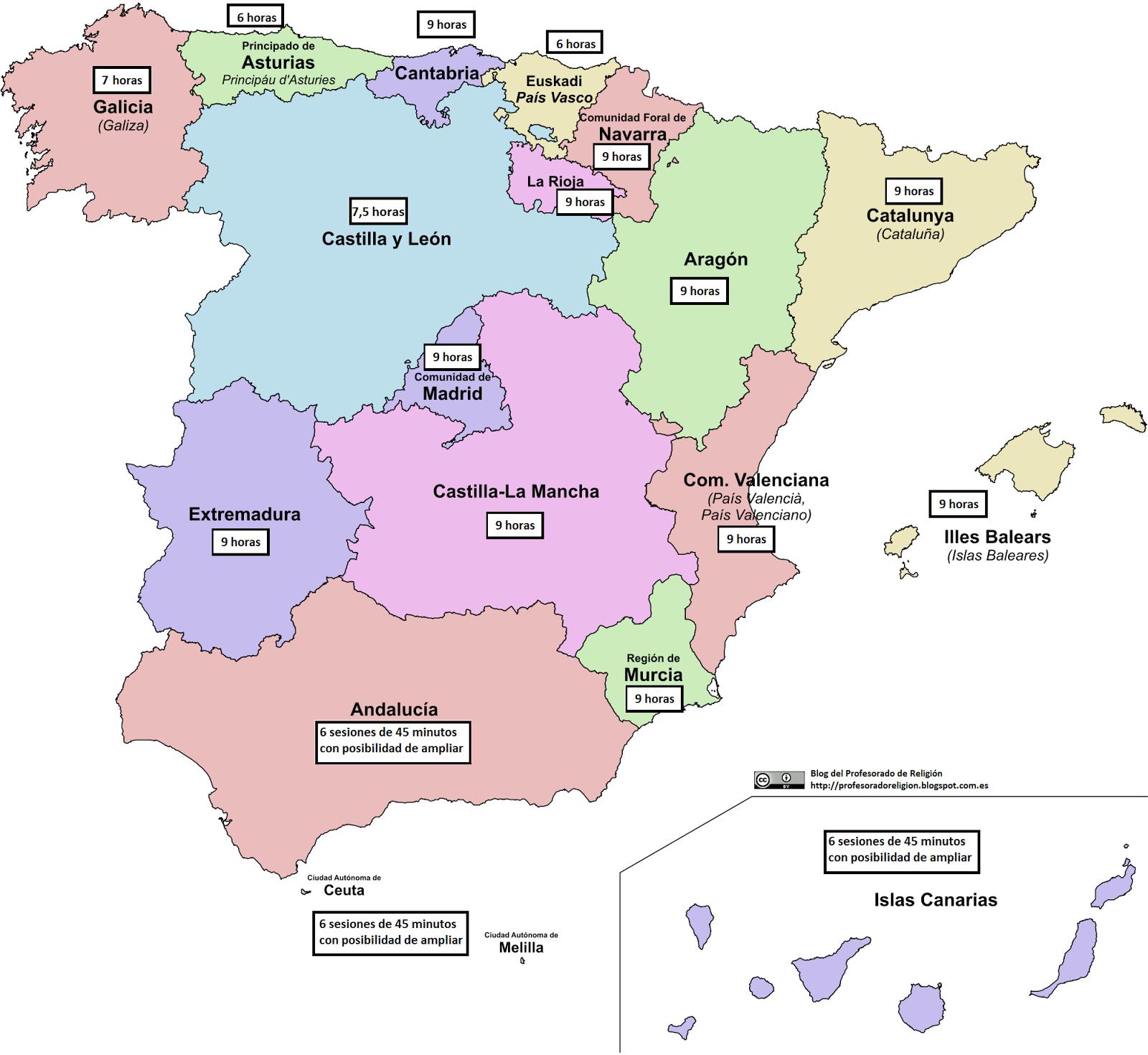 HORARIO RELIGIÓN LOMCE EN PRIMARIA. POR COMUNIDADES