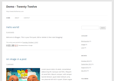Twenty Twelve Blogger Theme