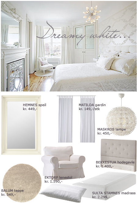 ... del -et lekkert , luftig og delikat soverom, hvitt og naturlig